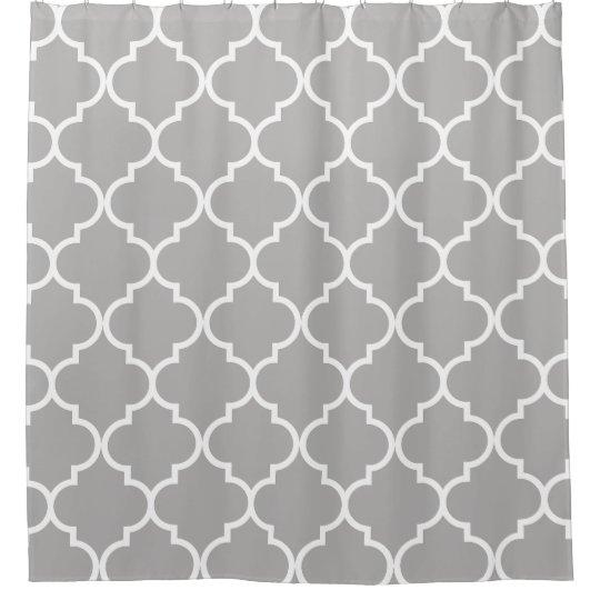 Grey And White Moroccan Trellis Quatrefoil Shower Curtain