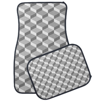 Grey and White Optical Illusion Geometric Squares Car Mat