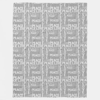 Grey and White Peace Love Fleece Blanket