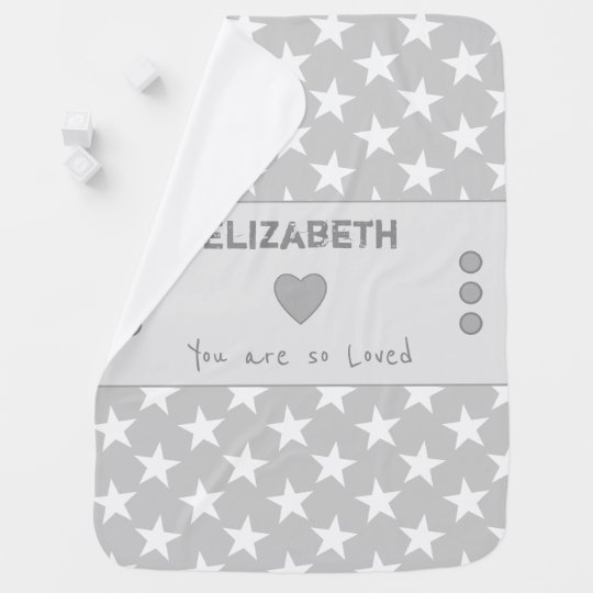 Grey and white Personalised stars baby Baby Blanket