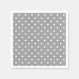 Grey and white polka dot modern glamour paper napkin