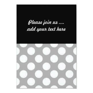 Grey and White Polka Dot Pattern 13 Cm X 18 Cm Invitation Card