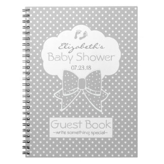 Grey and White Polka Dots Baby Shower Guest Book- Notebooks