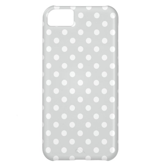 Grey and White Polka Dots Pattern iPhone 5C Case
