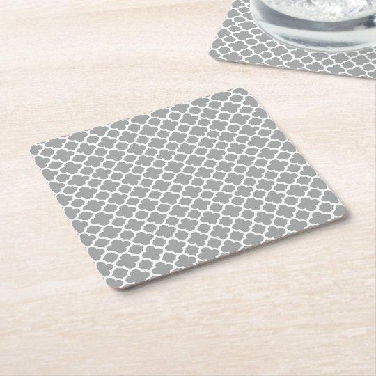 Grey and White Quatrefoil Square Paper Coaster