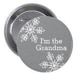 Grey and White Snowflake I'm the Grandma 7.5 Cm Round Badge