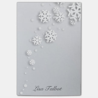 Grey and White Snowflake Post It Notes