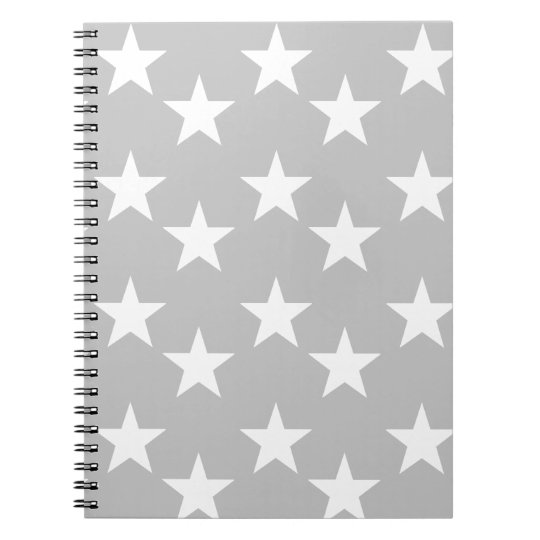 Grey and White Star Print Notebook