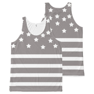 Grey and White Stars & Stripes All-Over Print Tank Top