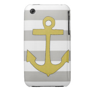 Grey and white striped anchor iPhone 3g Case