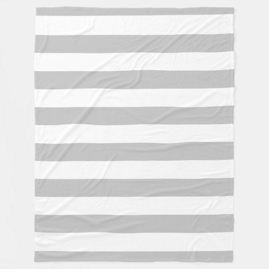Grey and White Striped Fleece Blanket