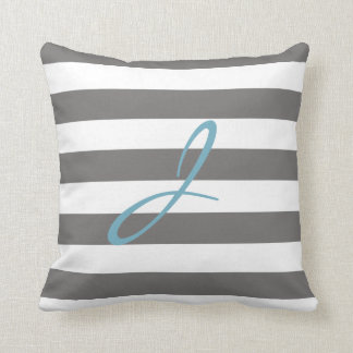 Grey and White Striped Monogram Nursery Pillow