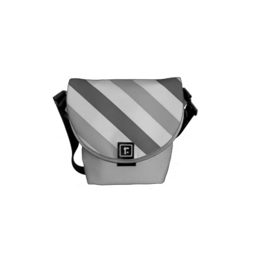 Grey and White Stripes Messenger Bags