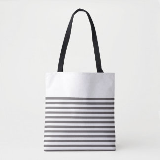 Grey and White Stripes Tote Bag
