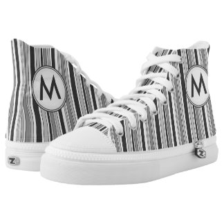 Grey and White Stripes with Monogram Hi-Top