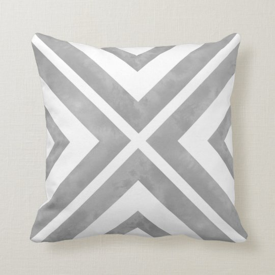 Grey and White Watercolor Geometric Cushion