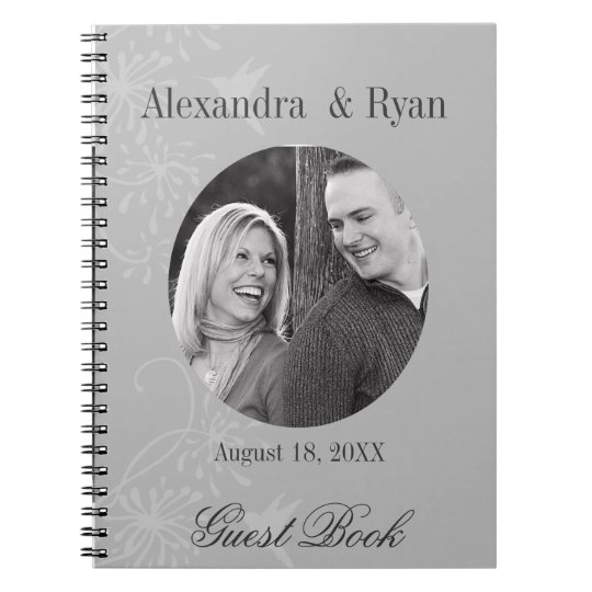 Grey and White Wedding Guest Sign In Notebooks