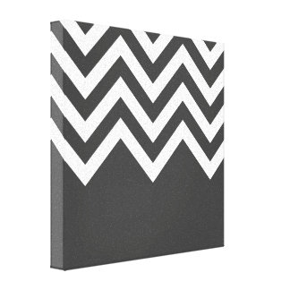 Grey and White Zig Zags Stretched Canvas Prints