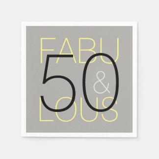 Grey and Yellow 50 & Fabulous Paper Napkin