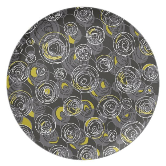 Grey and yellow abstract art plate