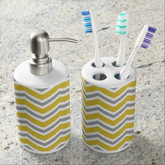 Grey and Yellow Chevron Bath Set