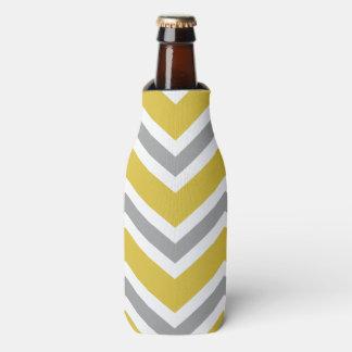 Grey and Yellow Chevron Bottle Holder Bottle Cooler