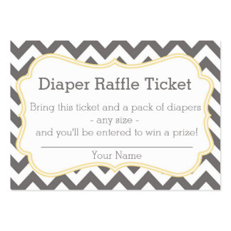 Grey and Yellow Chevron Diaper Raffle Ticket Business Cards