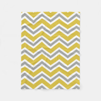 Grey and Yellow Chevron Fleece Blanket