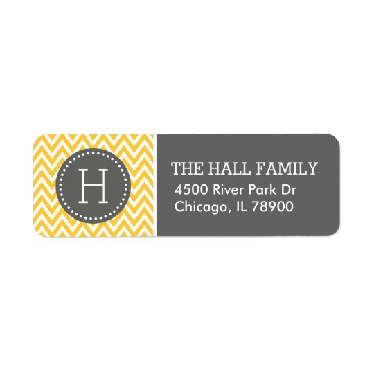 Grey and Yellow Chevron Monogram Return Address Label