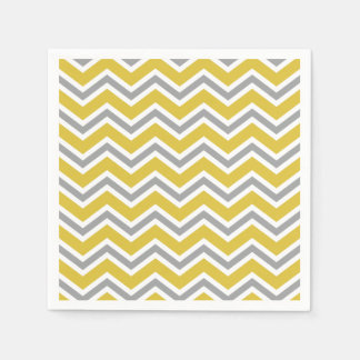 Grey and Yellow Chevron Napkins Disposable Napkin