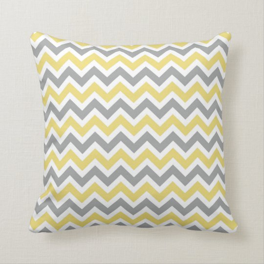 Grey and Yellow Chevron Pattern Pillow