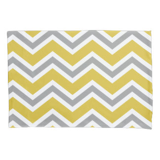 Grey and Yellow Chevron Pillow Case