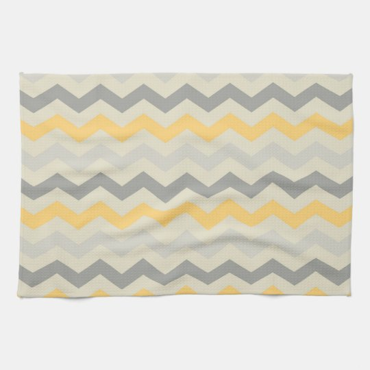 Grey and Yellow Chevron Stripe Zig Zag Kitchen