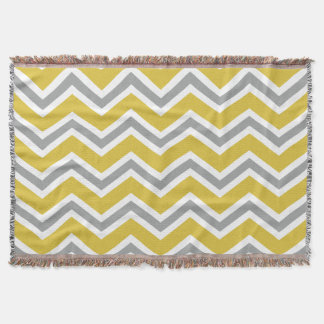 Grey and Yellow Chevron Throw Blanket