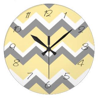 Grey and Yellow Chevron Wall Clock