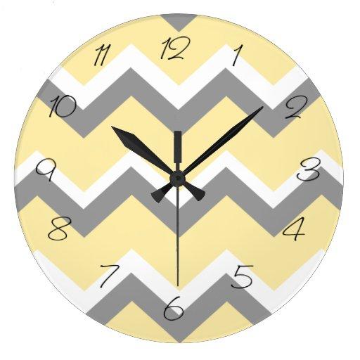 grey and yellow chevron wall clock zazzle
