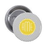 Grey and Yellow Chevrons Custom Monogram
