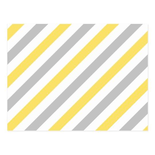 Grey and Yellow Diagonal Stripes Pattern Postcard