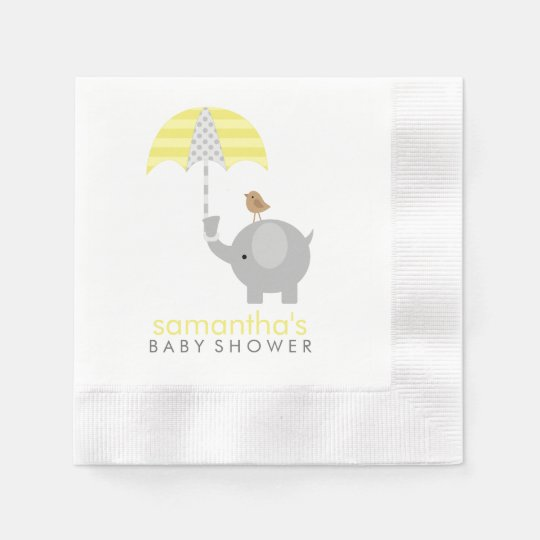 Grey and Yellow Elephant Baby Shower Disposable Serviettes