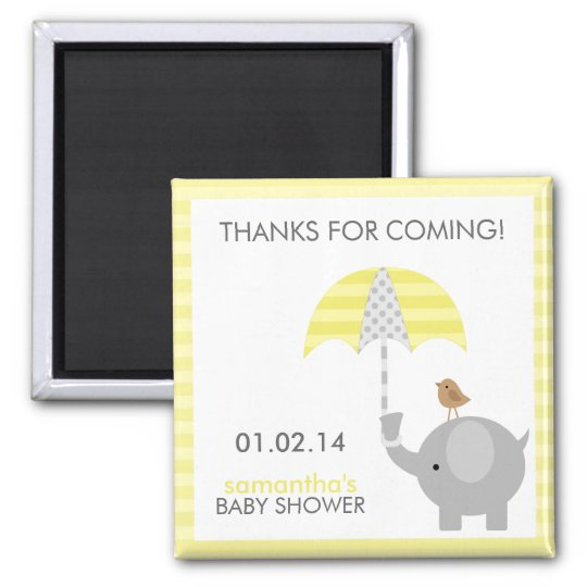 Grey and Yellow Elephant Baby Shower Favours Magnet