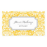 Grey and Yellow Floral Damask Pack Of Standard Business Cards