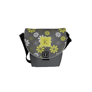 Grey and Yellow Flower Monogram Pattern Commuter Bag