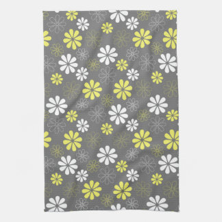 Grey and Yellow Flower Pattern Tea Towel