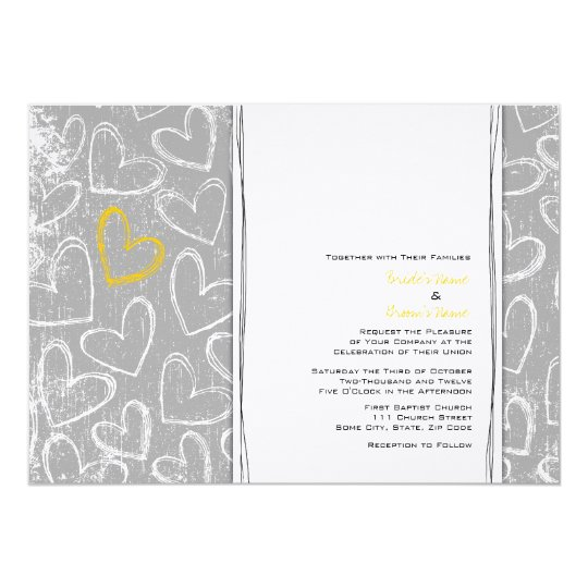 Grey and Yellow Grunge Hearts Wedding Invitations