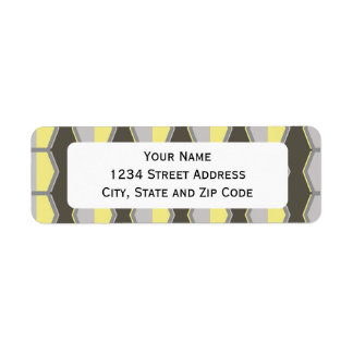 Grey and Yellow Hexagon Retro 70's Pattern Return Address Label