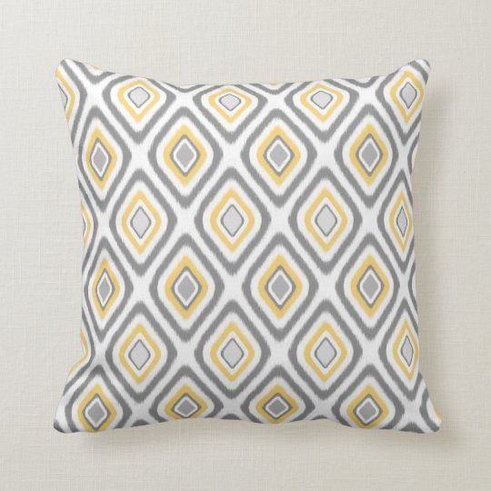 Grey and Yellow Ikat Diamond Pattern Cushion