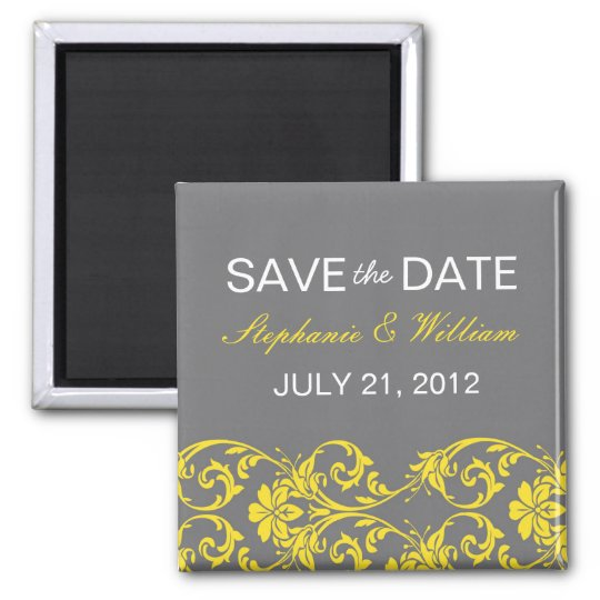 Grey and Yellow Lace Save The Date Magnet