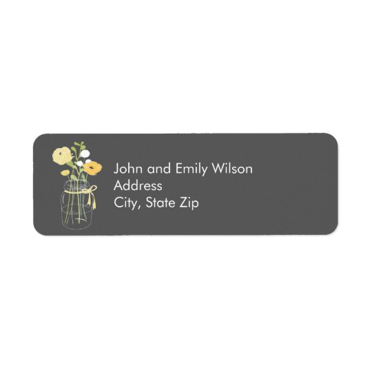 Grey and Yellow Mason Jar Return Address Labels