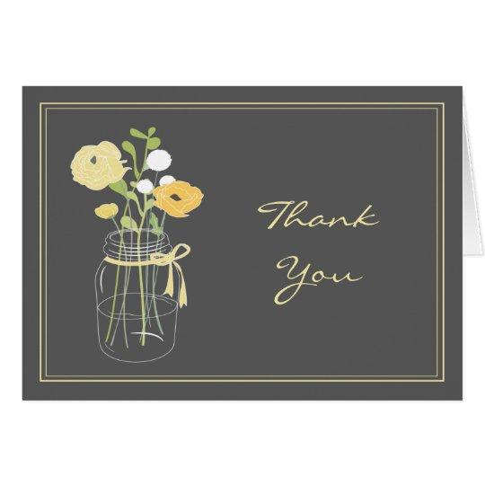 Grey and Yellow Mason Jar Thank You Cards