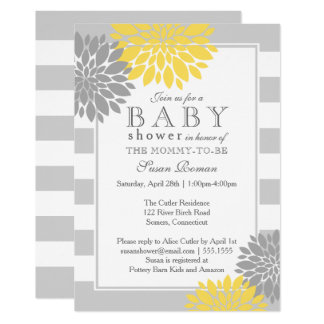 Grey and Yellow  Modern Flower Baby Shower Card